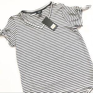 Jones New York Stripe Tie Sleeve Top